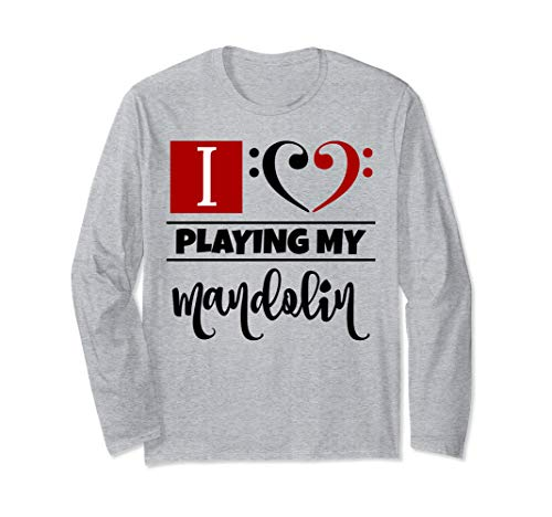 Double Black Red Bass Clef Heart I Love Playing My Mandolin Long-Sleeve T-Shirt