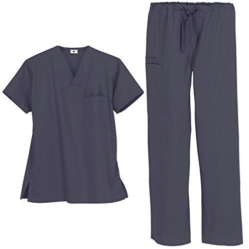 Strictly Scrubs Unisex Medical Uniform Set (XL, Granite)