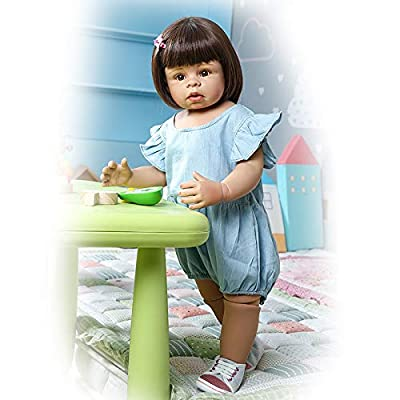 RXDOLL Toddler Reborn Realistic Lifelike Baby Doll Girl 28 inches 70 cm Big Eyes Opened Short Hair Reborn Toddlers Standing Doll Toy in Blue Clothes for Children Birthday Gifts: Toys & Games