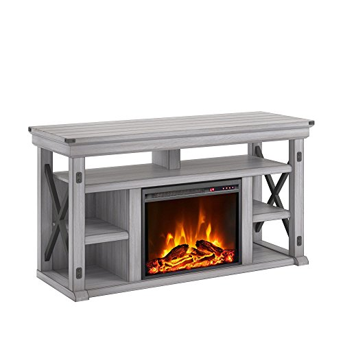 Ameriwood Home Wildwood Fireplace TV Stand, Rustic White (Electric Fireplace Tv Stand Gray)