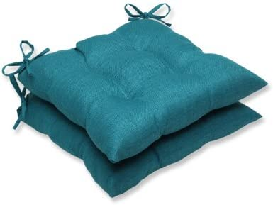 Pillow Perfect Outdoor/Indoor Rave Teal Tufted Seat Cushions Square Back