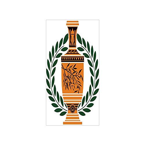 Decorative Privacy Window Film/Old Antique Greek Vase with Olive Branch Motif and Laurel Wreath/No-Glue Self Static Cling for Home Bedroom Bathroom Kitchen Office Decor Hunter Green Orange ()