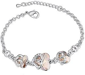 Simple heart-shaped crystal bracelet - Fashion lady bracelet - Gold