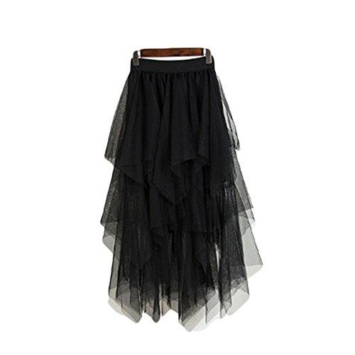 pour Jupe Femmes Oudan mi Longues Longue Noir Taille Tulle Haute Jupe en Z0wqta