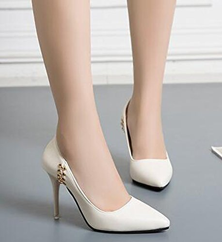 IDIFU Womens Classic Closed Pointed Toe High Stiletto Heels Pumps Low Top Slip On Wear To Work Shoes Beige fDMmJ0u