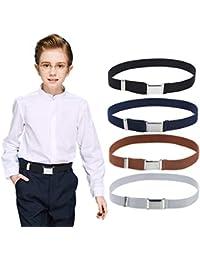 4PCS Kids Boys Elastic Buckle Belt - Adjustable Belt with Silver Square Buckle for Girls Childs By Kajeer