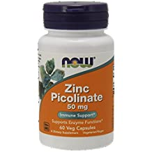 NOW Foods Zinc Picolinate, 50mg 60 Capsules, (Pack of 3)