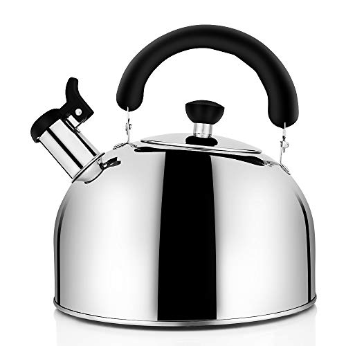 Tea Kettle Stovetop Whistling Tea Pot, Stainless Steel Tea Kettles Tea Pots for Stove Top, 4.3QT(4-Liter) Large Capacity with Capsule Base by ECPURCHASE