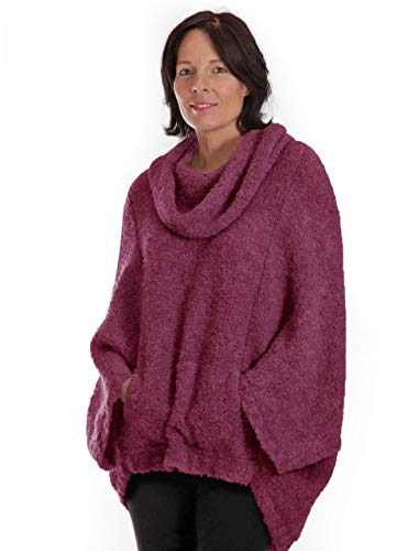 Mission Cocoon Alpaca Wool Bouclé Pullover, Oversized, Snuggly, Poncho Style Sweater Cowl Neck (Plum Brandy, M-L-XL)