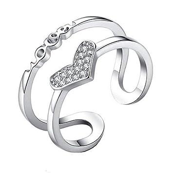 Fashion Women Silver Diamond Jewelry Open Finger Ring Adjustable Size