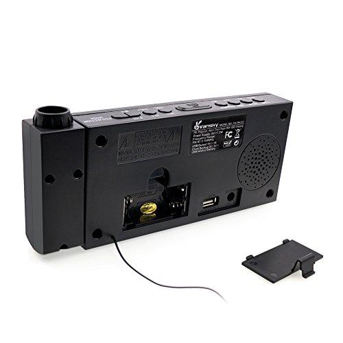 vansky digital projection alarm clock radio with dimmer 1 8 led display usb charging dual. Black Bedroom Furniture Sets. Home Design Ideas
