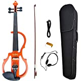 NAOMI Full Size 4/4 Solid Wood Electric Silent Violin Ebony Fittings Fiddle Maple Fingerboard Pegs Chin Rest Tailpiece SET