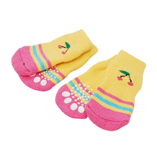 Como 4 PCS Pet Dog Warm Nonskid Striped Soft Socks Size L, My Pet Supplies