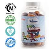 Salaam Nutritionals Halal Calcium+Vitamin D Gummies for Optimal Bone Support, Essential for Growing Kids and Helps Prevent Osteoporosis in Adults, Vegetarian, Kosher, Qty 60, *Best Tasting*