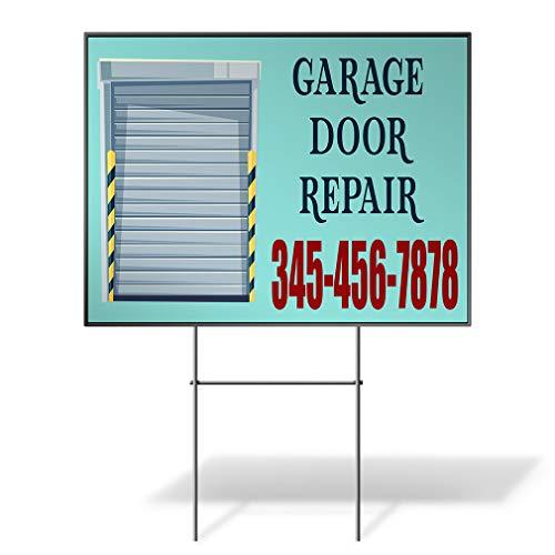 Custom Personalized Yard Sign Garage Door Repair Phone Number Blue Blue Two Sides Print - Door Spring Garage Repair Torsion