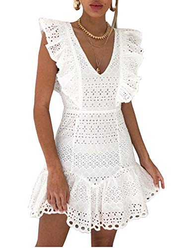 Miessial Women's Sexy Lace Ruffle Mini Dress Hollow Out A-line Short Dress (4/6, White Lace)