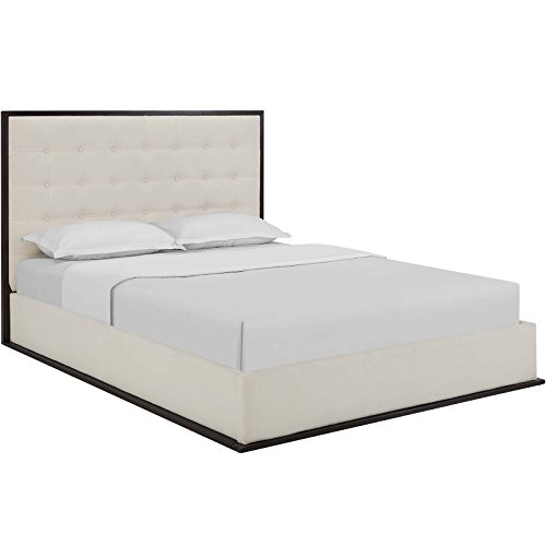 Modway Madeline Modern Fabric Upholstered Platform Queen Size Bed in Cappuccino Ivory ()