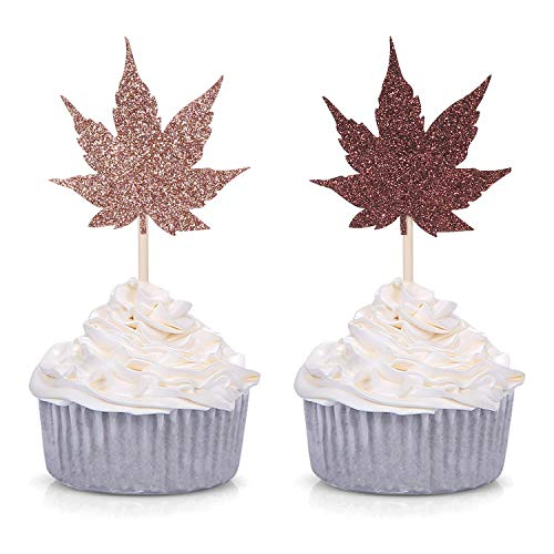 Pack of 24 Autumn Maple Leaf Cupcake Toppers for Thanksgiving/Fall Party Decorations