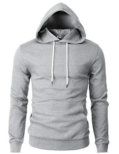 (H2H Mens Basic Slim Fit Long Sleeve Hoodie Sweatshirts Gray US XL/Asia 2XL (CMOHOL050))