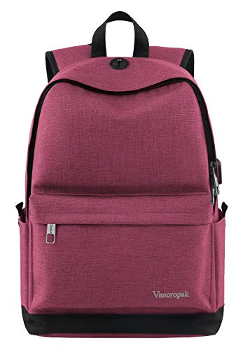 Laptop Backpack College High School Student Backpack with Charger for Women and Teens Water Resistant Canvas Book Bag Weekend Travel Daypack Fits 156 Inch MacBook Tablet and Books Pink