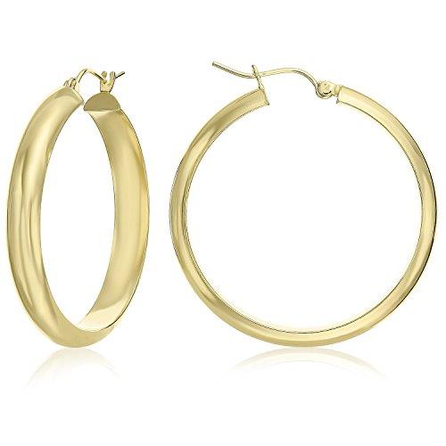 (MCS Jewelry 14K Yellow Gold Round Hoop Earrings 5 mm (35 mm Diameter))