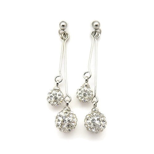 Pierced Crystal (Invisible Clip On Round Pave Crystal Dangle Earrings for Non-Pierced Ears, Silver)