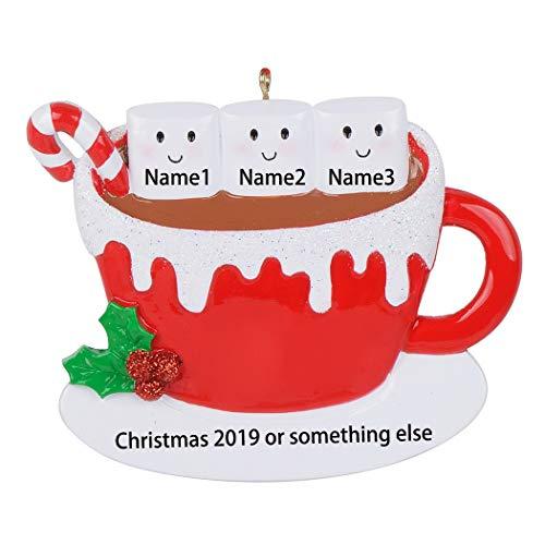 MAXORA Marshmallow Mug Personalized Family of 3 Christmas Ornament - Free Personalization (Ornament Personalized)