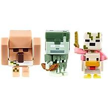 Mattel Minecraft Mini Stray Skeleton, Pigman Chicken Jockey, Attacking Iron Golem Figure (3 Pack)