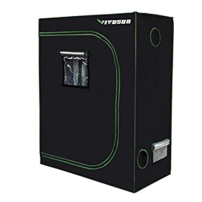 "VIVOSUN 48""x24""x60"" Mylar Hydroponic Grow Tent with Obeservation Window and Floor Tray for Indoor Plant Growing 2'x4'"