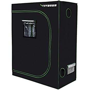 "VIVOSUN 48""x24""x60"" Mylar Hydroponic Grow Tent with Observation Window and Floor Tray for Indoor Plant Growing 2'x4'"