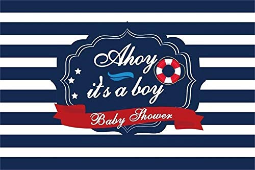 AOFOTO 7x5ft Baby Boy Shower Backdrops for Photography It's A Boy Nautical Lifebuoy Blue Striped Background Little Seaman Sailor Gender Reveal Party Decoration Photo Studio Props Vinyl ()