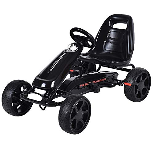 Costzon Go Kart, 4 Wheel Powered Ride On Toy, Outdoor Racer Pedal Car with Clutch, Brake, EVA Tires, Adjustable Seat…