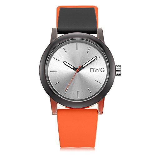 Silicone Quartz Watch Men Women Casual Analog Jelly Unisex Wrist Watch Simple Fashion Design Nice Colors Sport Watches (Orange Strap&White Dial)