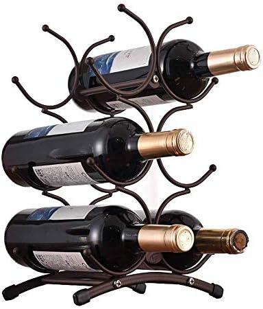 Estantería de vino Estante del vino titular de la botella de vino de primera calidad del diseño del metal se adapta fácilmente 6 Botellas |Decorativo su vino favorito estante de vino pequeño