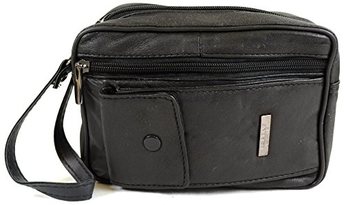 Mens Super Soft Nappa Leather Bag With Wrist Strap Multiple Compartments