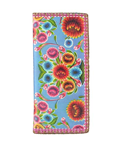 Mlavi Mexican Oilcloth Sweet Floral Pattern Print Vegan/Faux Leather Large Flat Wallet