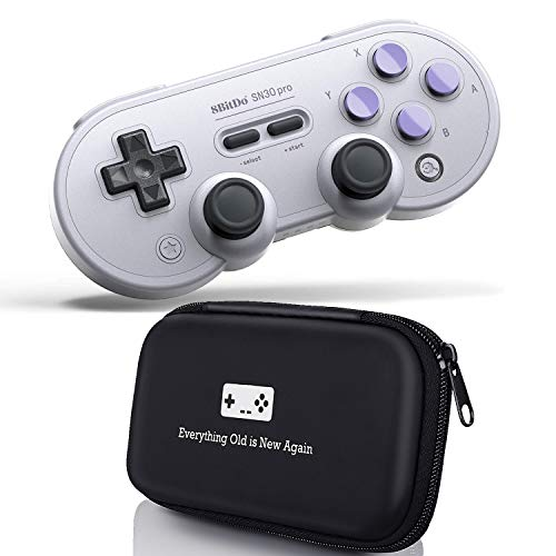 Geek Theory 8Bitdo SN30 Pro Bluetooth Controller (SN Edition) Bundle - Includes Bonus Carrying Case - for Nintendo Switch, PC, Mac OS & Android