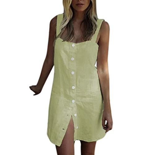 XLnuln Fashion Women Summer Long Maxi Dress Sexy Sling Sleeveless Square Collar Solid Button Casual Mini Dresses -