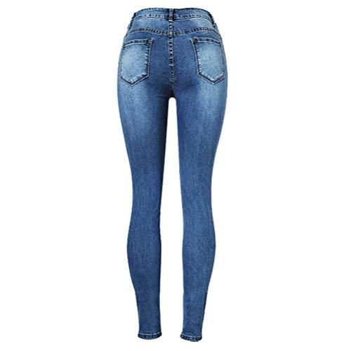 Con De Lápiz Dril Moda Mujer Bolsillos Cintura Oscuro Mujeres Pantalones Vaqueros Casuales Azul Agujero Delgado Algodón Acogedor Botón Alta Del qxX61