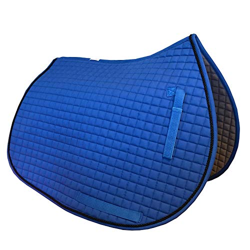 PRI Pacific Rim International All-Purpose English Saddle Pads for Horses (Royal Blue w/#7 Black Accent Rope Cord)