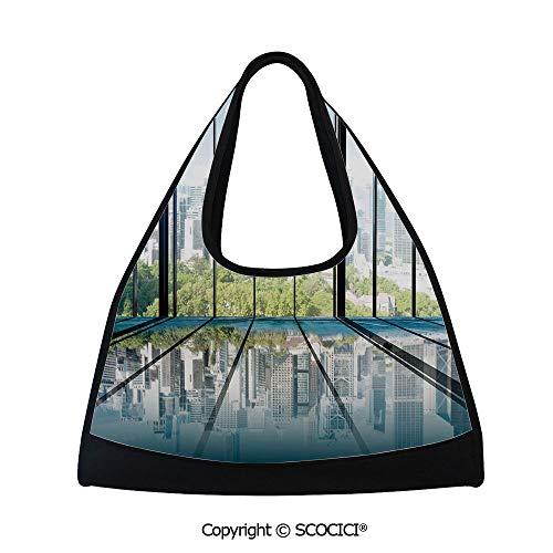 Badminton bag,Sunny Clear Sky Office Skyscrapers in Urban Metropolitan City Scenery,Multi Functional Bag (18.5x6.7x20 in) White Black and Green
