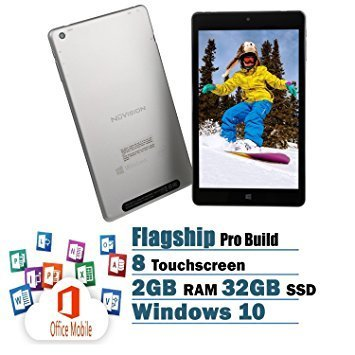 NuVision FHD Touchscreen 8-Inch Tablet Flagship Edition Intel Quad-Core Processor 2GB 32GB SSD Windows 10 with office Mobile