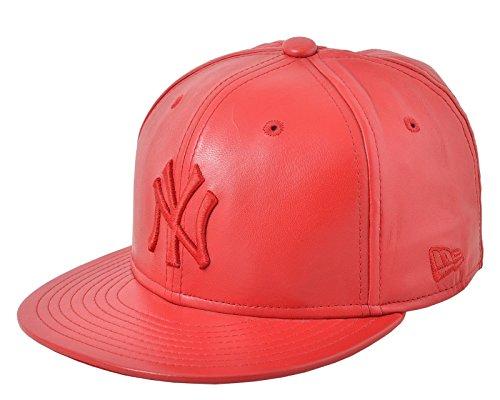 New Era New York Yankees MLB Leather 59FIFTY Cap Scarlet Size 7 (New Era Cap Leather Cap)