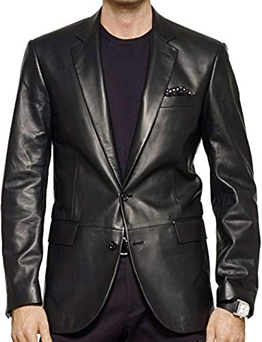 - King Leathers Men's Genuine Lambskin Real Leather Blazer Two Button Black Coat