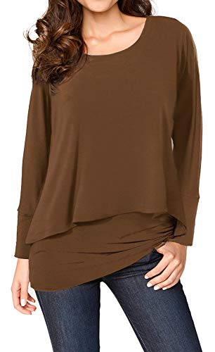 Upopby Women's Casual T-Shirt Long Sleeve Tunic Tops Batwing Layered Round Neck Loose Blouse Plus Size Brown - Sleeve Long Ladies Layered Tee