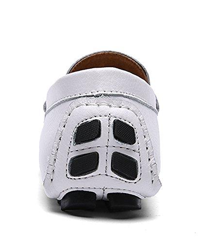 SK Studio Hombre Mocasines de Cuero Zapatos Del Barco Respirable Calzado Zapatos de Conducción Mocasine Blanco