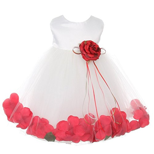 iGirlDress Baby Girls Satin Bodice Flower Pageant Petal Dress Infant 12mos White/Red