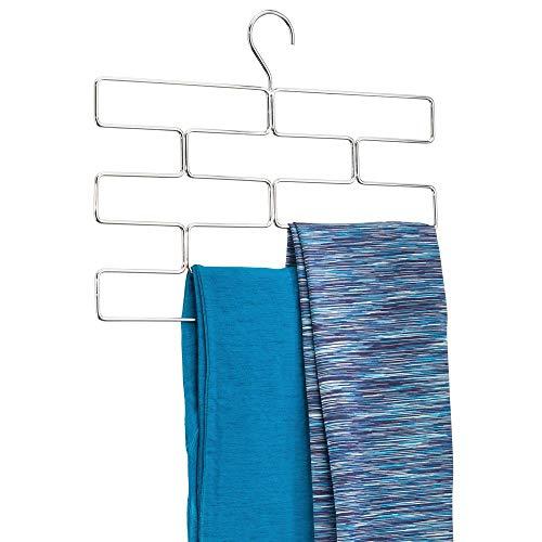 mDesign Modern Metal Closet Rod Hanging Accessory Storage Organizer Rack for Scarves, Ties, Yoga Pants, Leggings, Tank Tops - Snag Free, Geometric Design, 8 Sections - Chrome