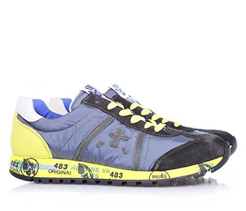 PREMIATA - Grauer und gelber Schuh mit Schnürsenkeln, aus Wildleder und weichem und atmungsaktivem Nylon, mit gelben Schnürsenkeln, Jungen