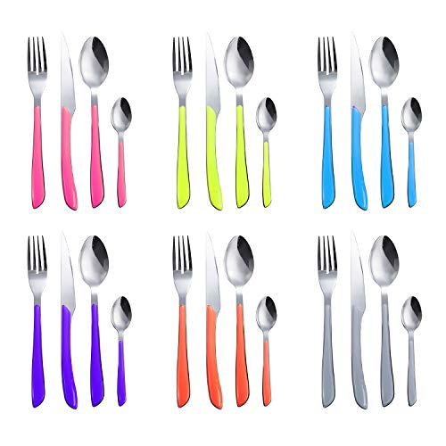 DOZZZ 24PCS Colored Flatware Set Stainless Steel Silverware Cutlery Utensil with Colorful Handles for Home Kitchen Hotel Restauran Service for 6 Dishwasher Safe